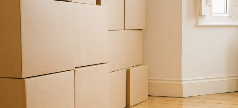 Stacks of boxes in new home